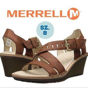 Merrell Sirah Lattice Brown Leather Sandal Wedge